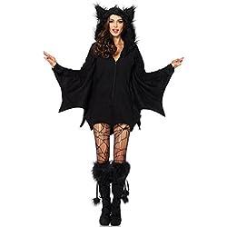 Disfraz Ángel Negro Hallowen Costume Disfraces Diablo Mujer con Chaleco con Sombrero y Media ( XX-Large )