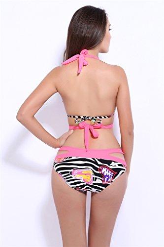 Fortuning's JDS Sexy Ausschnitt Neckholder Bandage Badebekleidung gedruckt Push-up-Bikini-Set Rosa