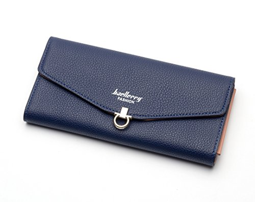 MPTECK @ Blau Lange Geldbörse für Damen Portemonnaie Frauen Brieftasche Geldbeutel Elegant Tasche PU Leder Clutch handtasche mit Reißverschluss Münztasche Mappen Kreditkarte Halter Kreditkartenetui (Reißverschluss-kreditkarten-brieftasche Mit)