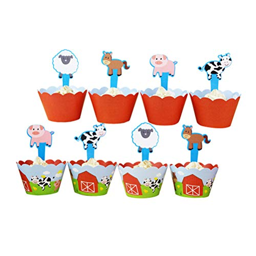 Amosfun 24 STÜCKE Bauernhof Thema Kuchen Cupcake Wrappers Kuchen Topper Set DIY Kuchen Dekorationen Geburtstag Party Favors
