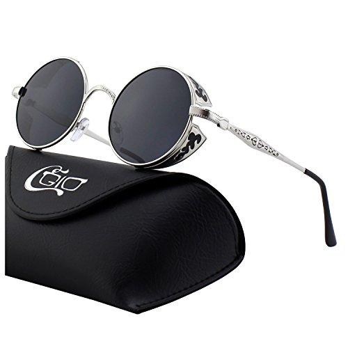 CGID Retro Sonnenbrille im Steampunk Stil, runder Metallrahmen, polarisiert, für Frauen und Männer, E71