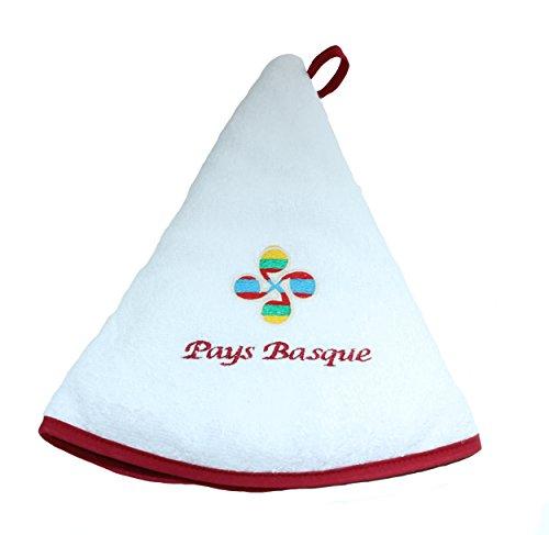 Essuie Main Rond en éponge brodé - Linge Basque de Tradition (Croix Basque, Blanc)