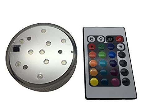 Waterproof LED Multicolor Lamp Submersible Aquarium Party Vase Base Ten Super Bright Lights 24-Key Remote Control High Power Wireless For Lighting Up Bowls Water Containers With Flash and Jump Modes Rapid or Slow Color Change Thirteen Different Colours - 4 Pieces 2