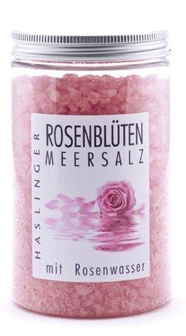 Lashuma Rosenblüten Badekristalle, Entspannungs Bade Salz mit echtem Rosenwasser, Wellness Badezubehör im Glas 450 g -
