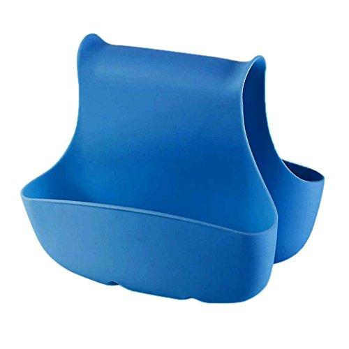 meisijia Doppelseitige Spüle Schwammhalter Tasche Abfluss Geschirrtücher Bad Armaturen Korb blau (Halter Wäscher Schwamm Und)