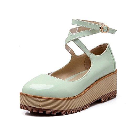 AllhqFashion Femme Boucle Rond à Talon Correct Pu Cuir Couleur Unie Chaussures Légeres Vert