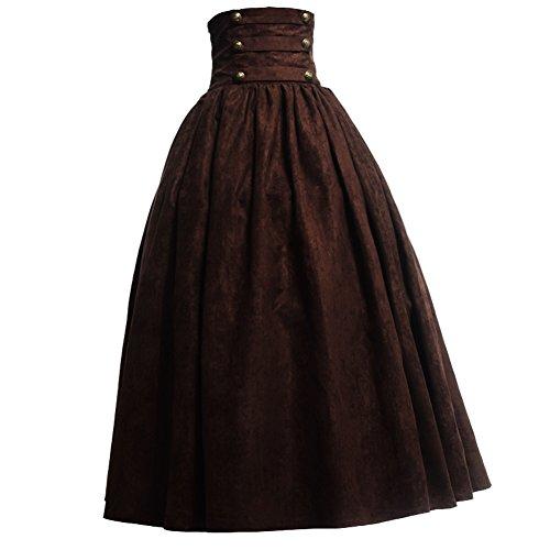 BLESSUME Gótico Lolita Steampunk Alto Cintura Para caminar Falda (Marrón, M)