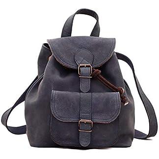PAUL MARIUS estilo de cuero mochila de la vendimia azul petróleo LE BAROUDEUR