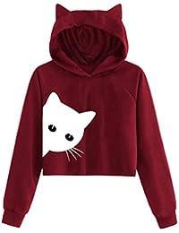 Mymyguoe Mujeres Sudadera otoño Invierno Sudadera con Capucha de Manga Larga con Estampado de Gatos para Mujer Tops Blusa Camiseta Pullover