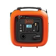 BLACK+DECKER ASI400-XJ Compressore Portatile Compatto Senza Serbatoio ad Alimentazione 8.27 Bar-Corrente 12V, modalità di Gonfiaggio, 0 W, 12 V
