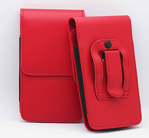 Rot / Red Amazon Fire Mobile Phone Gürteltasche Handy Holster mit magnetischem Verschluss aus PU-Leder Schützhülle Cover mit sicherem Gürtelclip von Gadget Giant®