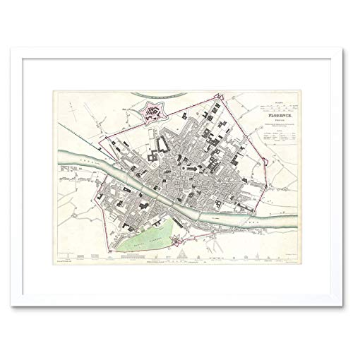 MAP ILLUSTRATED ANTIQUE SDUK FLORENCE FRAMED ART PRINT MOUNT B12X4976 - Florence Antique Print