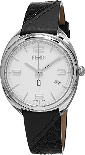 Fendi Women's Momento 34mm Black Leather Band Steel Case Swiss Quartz White Dial Analog Watch F210034011