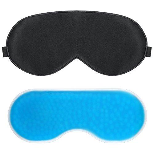 PLEMO Mascherina per Dormire, Occhio Maschera di Perline Promozione per Ringiovanire Gli Occhi, a Freddo / caldo, 2 in 1, Nero & Blu