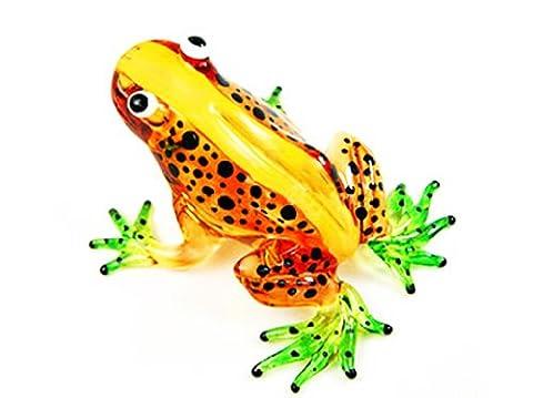 Nouvelle grenouille, FIGURINE Orange en verre Murano COLLECTIBLE MINIATURE main soufflé Art