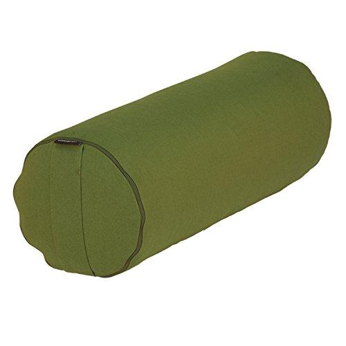 Coussin bolster de yoga BASIC env. 65 x 23 cm, coton robuste, housse amovible, lavable à 30°C, passant pour le transport, remplissage et couleur au choix (vert, cosses d'épeautre)