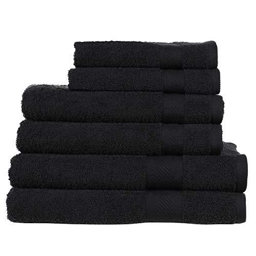 Sweet Needle Daily Use Set asciugamani 6 pezzi nero 100% cotone con finiture rayon 2 grandi asciugamani da bagno grandi 70x140 2 asciugamani 50x90 2