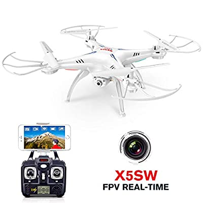 Syma X5SW RC 2.4G 6-Axis FPV Quadcopter Drone Helicopter Headless With HD Camera IOS&Android Sync Real Time Video-White