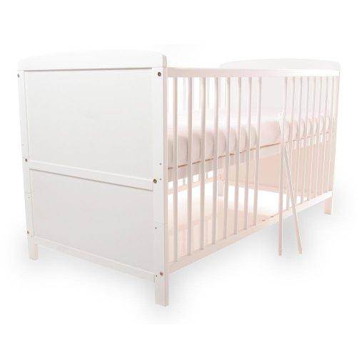 Baby- Kinder- und Jugend- Bett, Gitterbett, Kiefer teilmassiv, 140x70 cm, Babyblume TINA, Weiß - Bett, Jugend-schlafzimmer-set