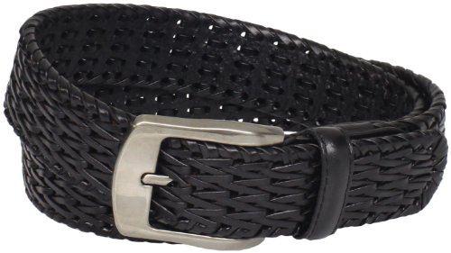 Stacy Adams Men's 32mm Hand Woven Genuine Leather Belt, Black, 42