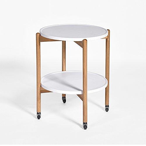 Table de chevet Le bois solide peut déplacer la table ronde petite table ronde salon canapé table de chevet armoire de chevet (Couleur : Blanc)