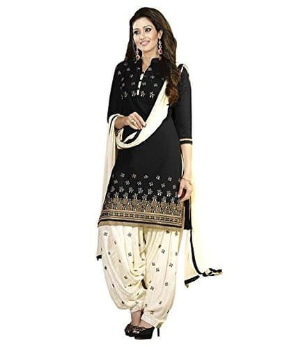 I-Brand Polyster Cotton Fabric Embroidery Salwar - suit(Semi-Stitched)( New Arrival Latest Best Design Beautiful Dresses Material Collection For Women and Girl Party wear Festival wear Special Function Events Wear In Low Price With High Demand Todays Special Offer and Deals with Fancy Designer and Bollywood Collection 2017 Punjabi Anarkali Chudidar Patialas Plazo pattern Suits )  available at amazon for Rs.426