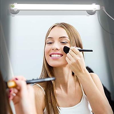 LED Spiegelleuchte,Make Up Licht,Schminklicht,Sucker Lampe, Dimmabar Tageslicht für Badzimmer/Bilder—USB Aufladen(Weiß)
