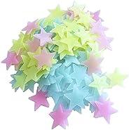 100PCs Luminous Plastic 3D Stars Glow in the Dark wall stickers For Decorative Kids Bedroom Living Room Multi