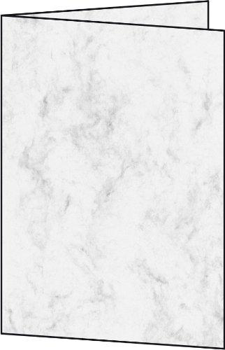Sigel DC641 Faltkarten marmoriert grau, A6, Edelkarton 185 g, 25 Stück