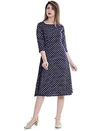 TheUrbanStreet Women's Polka Dot A-Line Dress