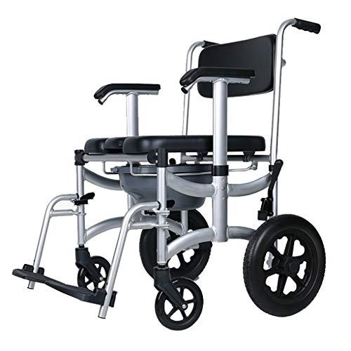 Rollstuhl Mobile Toilette Patientenpflege Toilettenstuhl Last Tragen 125kg Wasserdichte Toilettensitz Mit Deckel Klappstuhl Duschstuhl Bad Hocker Geschenk für ältere Schwangere Frauen