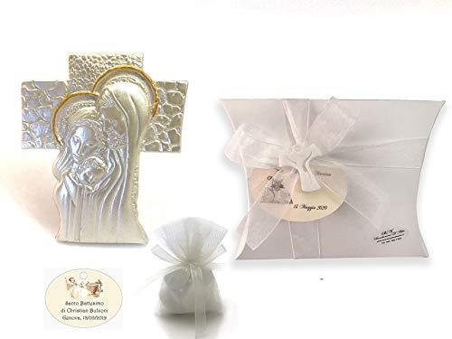 Bomboniera battesimo cresima comunione confezionata completa di confetti e tulle