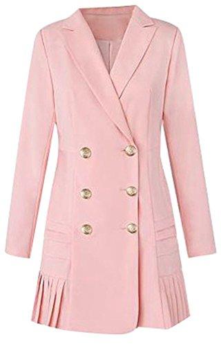 OMUUTR Damen Elegant Trenchcoat Mantel Lange Blazer Jacke Coat Reverskragen Zweireihige Falten hem Langen Ärmeln Business Büro OL lange Overcoat XXXLarge