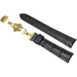 RECHERE 17mm Crocodile Grain Leather Watch Band Strap Gold Deployment Clasp Black