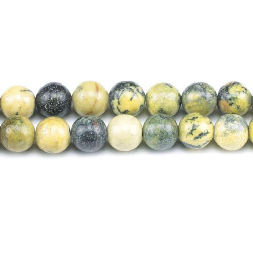Filo 62+ Giallo/Verde Diaspro 6mm Tondo Liscio Perline - (GS1602-2) - Charming Beads