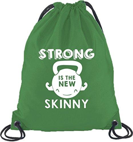 Shirtstreet24, Strong Is The New Skinny, Turnbeutel Rucksack Sport Beutel Kelly Green