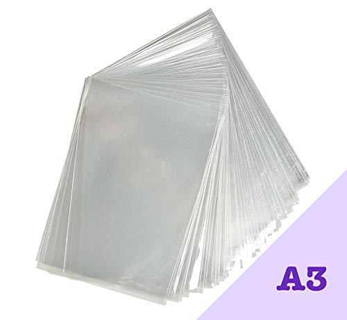 Pack 100 bolsas celofán transparente A3. Ajuste cómodo