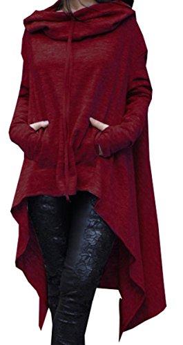 BLACKMYTH Femme Batwing Manches à Capuche Pullovers Irrégulier Sweatshirts Cap Poncho Vin Rouge