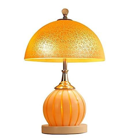 Lampe de chevet Lampes de table Lampe de table chaud Table de chevet lumière travail Lampe de lecture chambre lampe de bureau lampe de table chambre moderne avec verre mariage orange matériau chaud lumière E27 Moderne jaune