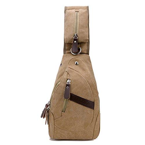 BULAGE Tasche Leinwand Brustbeutel Männer Taschen Handtaschen Lässig Rucksack Multifunktional Schulranzen Schulter Outdoor Sport Retro Khaki