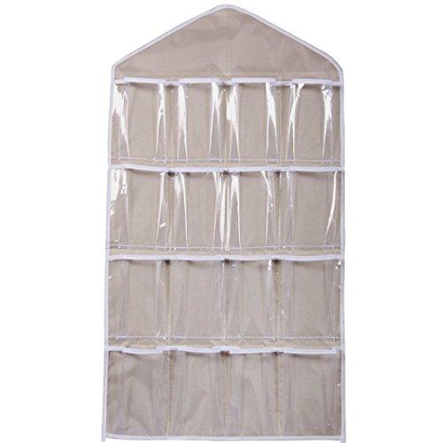 16 bolsillos claro perchero de bolsa de para colgar de la puerta zapatero armario de ropa interior calcetines...