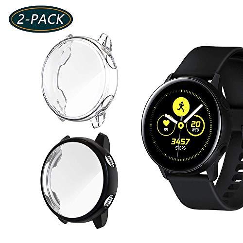 Jvchengxi Coque pour Galaxy Watch Active,TPU Protection Contre la Rayure, Protection d'écran Cadre Protection Totale pour Samsung Galaxy Watch Active 40 mm (Noir/Transparent)