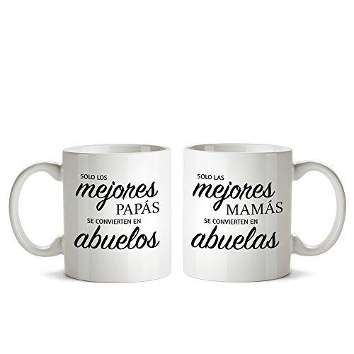 Juego de Dos Tazas de Cerámica Personalizadas Blancas con Mensaje - Taza de Graduación para Abuelas y Abuelos - Taza de Café como Regalo del Día de la Madre o del Padre - Regalo de Boda