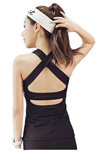 Débardeur Femme Running T-Shirt de Sport Sans Manche Tank Top Yoga Noir