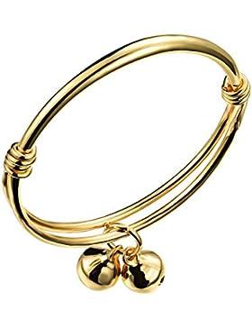 OPK Jewellery Baby-Armreif, für Jungen und Mädchen geeignet, verziert mit 2 Glocken, größenverstellbar, vergoldet...