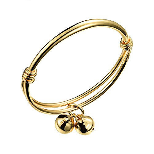 iLove EU Vergoldet Armband Armreif Manschette Gold Hochglanz Poliert Glöckchen Charm Charme Kinder Baby (Baby Charm Gold)
