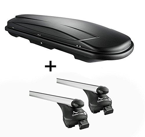 skibox Noir VDP juxt 500 litres verrouillable + Kit de barres de rail aufliegende Peugeot 5008 à partir de 2012 en aluminium jusqu'à 100 kg