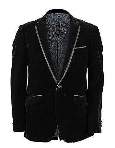 Mens Black Soft Velvet Blazer Trim Collar Pockets 1 Button Dinner Jacket Tuxedo