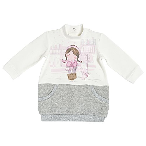 Chicco Baby Mädchen Kleid in Rock Optik creme-grau mit Glitzerfäden und Aufdruck (92)