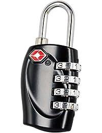 TRIXES Cadenas avec code à 4 chiffres TSA pour valises et sacs noir